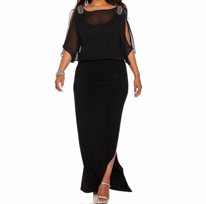 Elegant Xxl Party Dress Black Dress Floor Length Unbranded Maxi