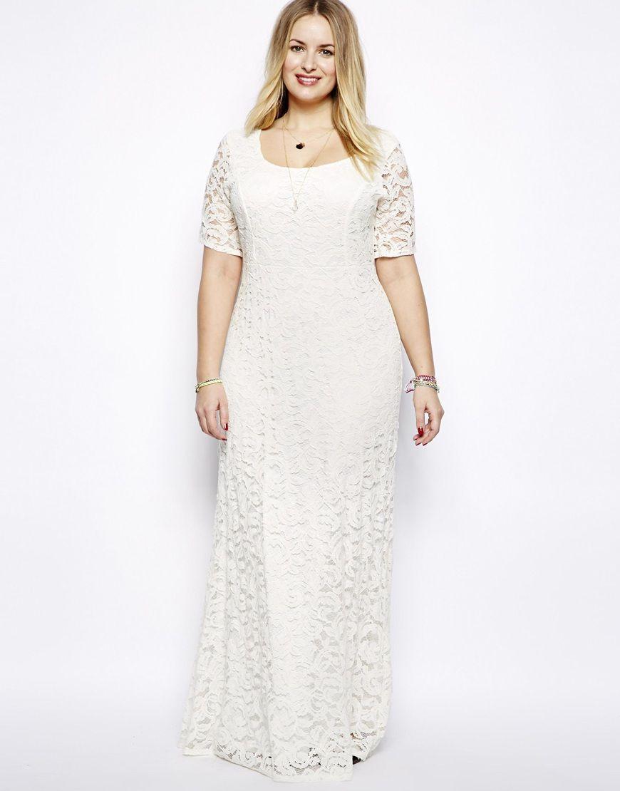 Plus size Sexy White Lace Maxi Dress Wedding Dress and Accessory