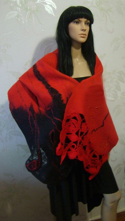 "Felted scarf-stole wool ""Carmen""-Red Black-Felt scarf-Felt Shawl-Nuno felt Scarves-Nunofelt Scarf -Felted Wrap-Felted stole-Valentine gift"