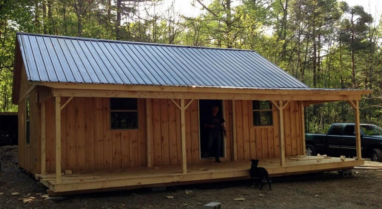 20 39 x 30 39 cabin with 8 39 porch windows and metal roof for Steel frame cabin