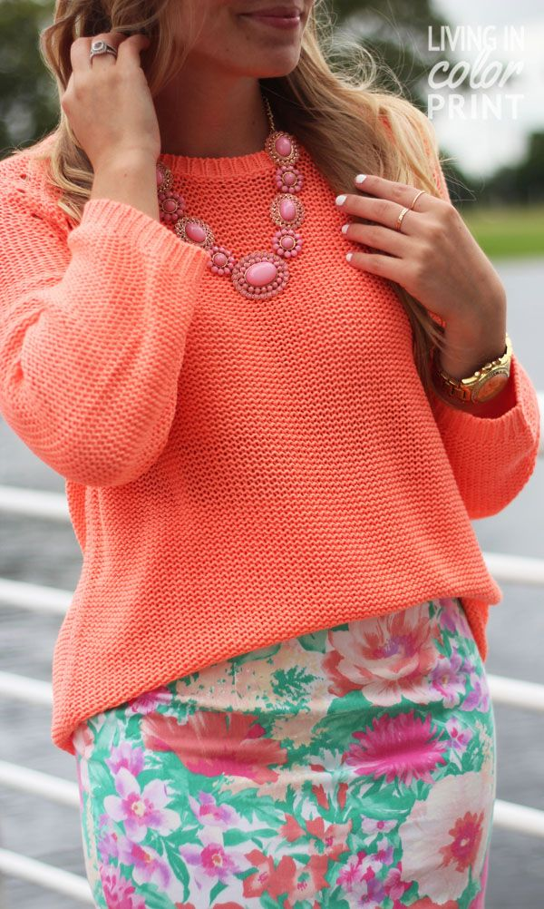 Floral Pencil Skirt Chunky Sweater Living In Color Print