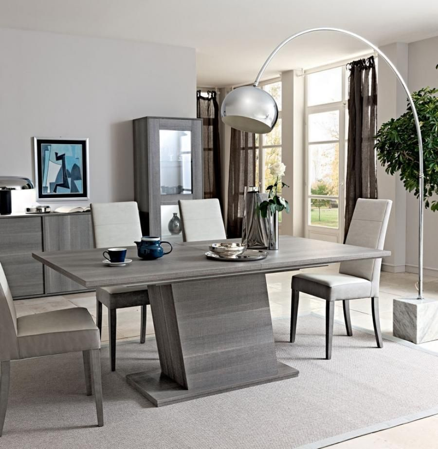 Futura Collection, Modern Fixed/Extending Dining Table In Grey Saw  Marked  Oak Effect