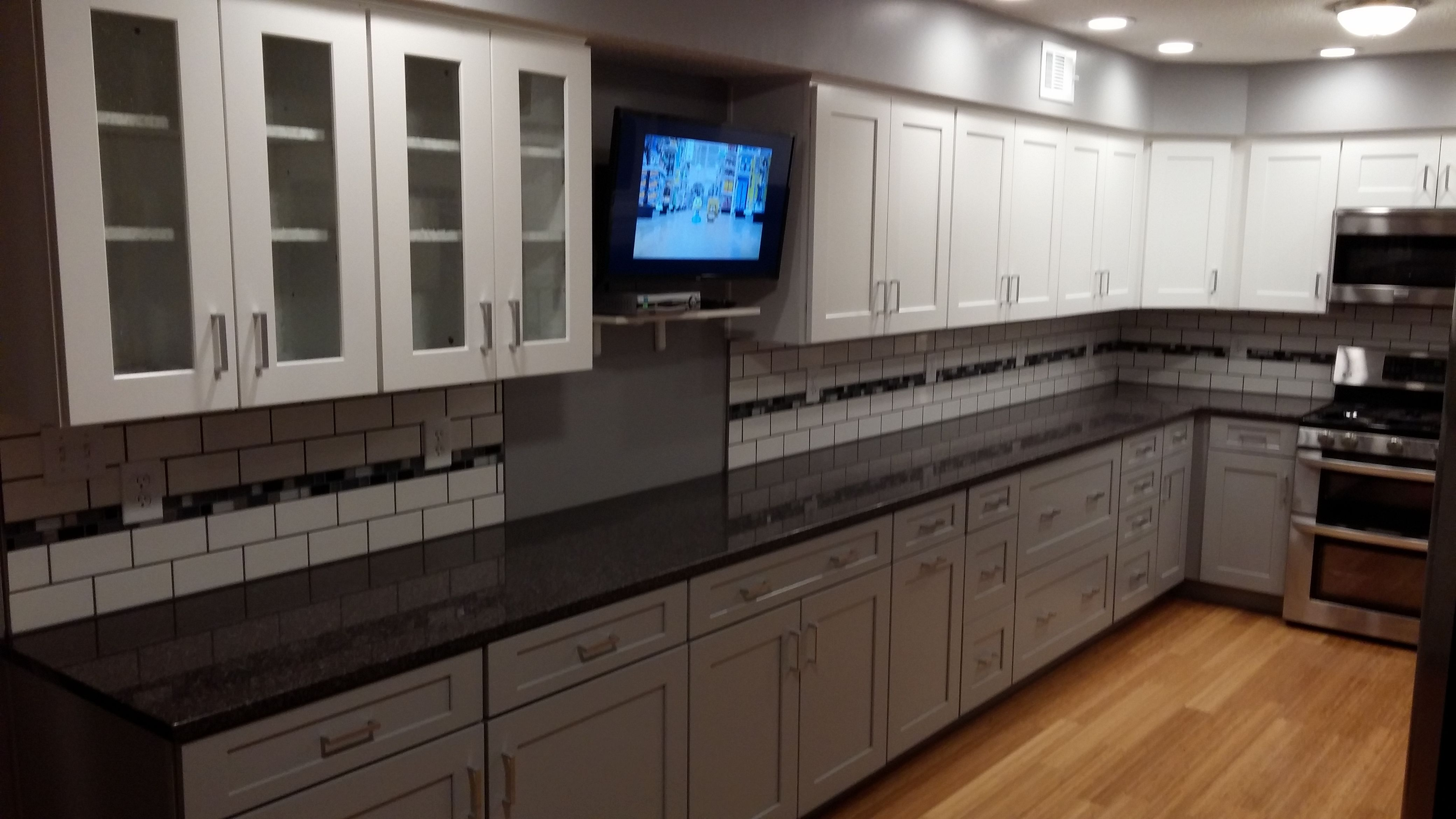 Grey and white kitchen remodel with quartz