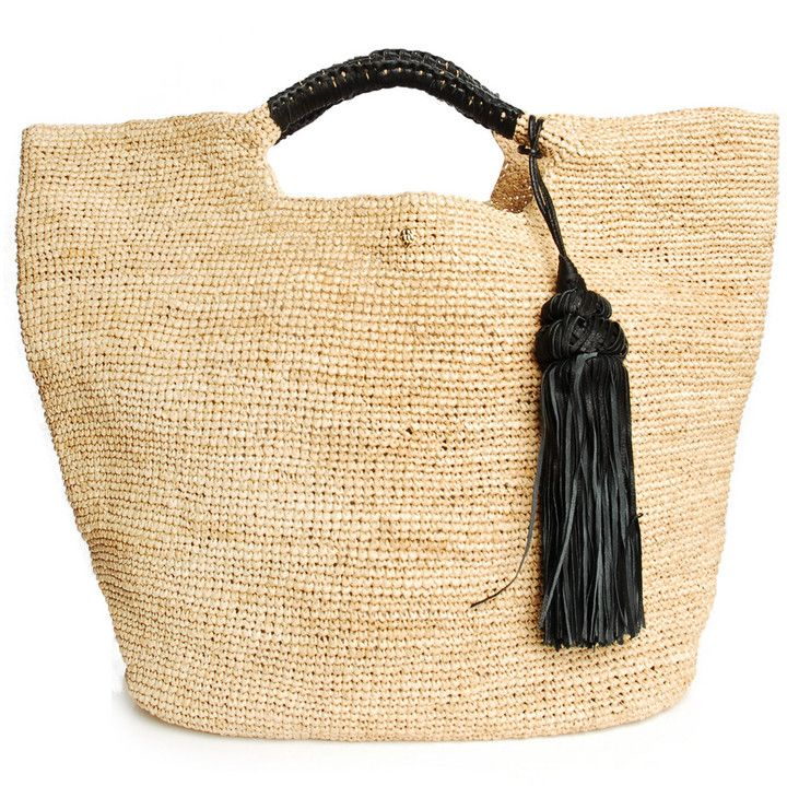 Oversized Raffia Straw Bag Plaited Black Leather Handles