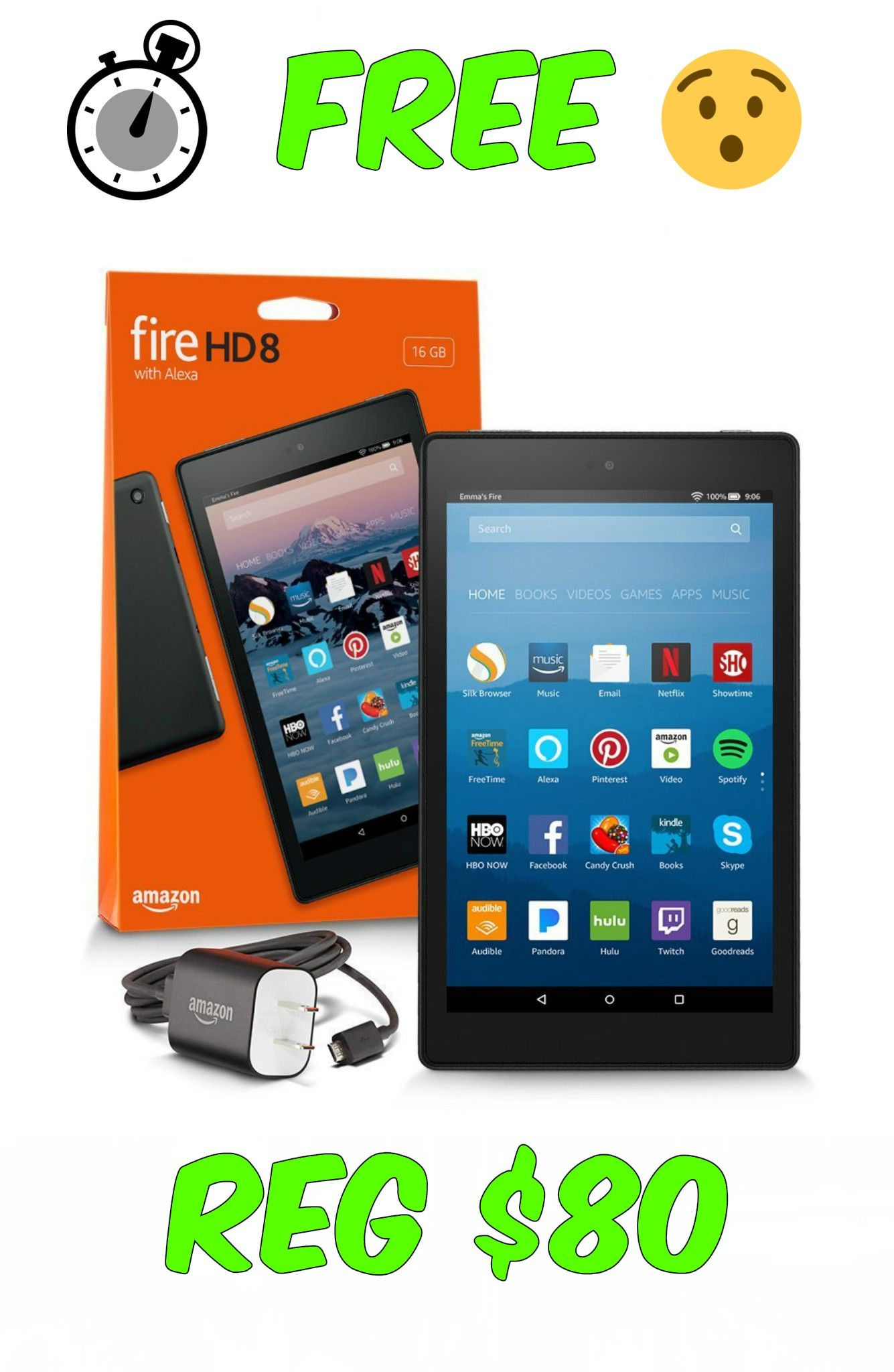 free amazon kindle fire hd 8 tablet with alexa coupons freebies rh pinterest com