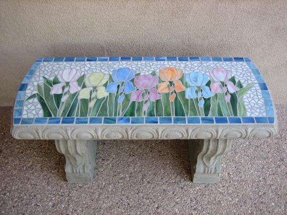 Outstanding Iris Garden Mosaic Patio Porch Bench For The Home Ibusinesslaw Wood Chair Design Ideas Ibusinesslaworg