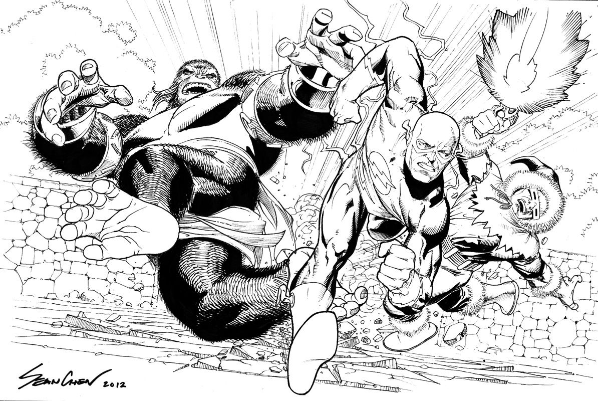 The Flash Vs Captian Cold And Gorilla Grodd By Sean Chen Comic Art Flash Vs Art