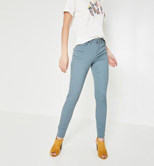 ERNEST push-up casual trousers - Grey green - Women - Jeans - Promod