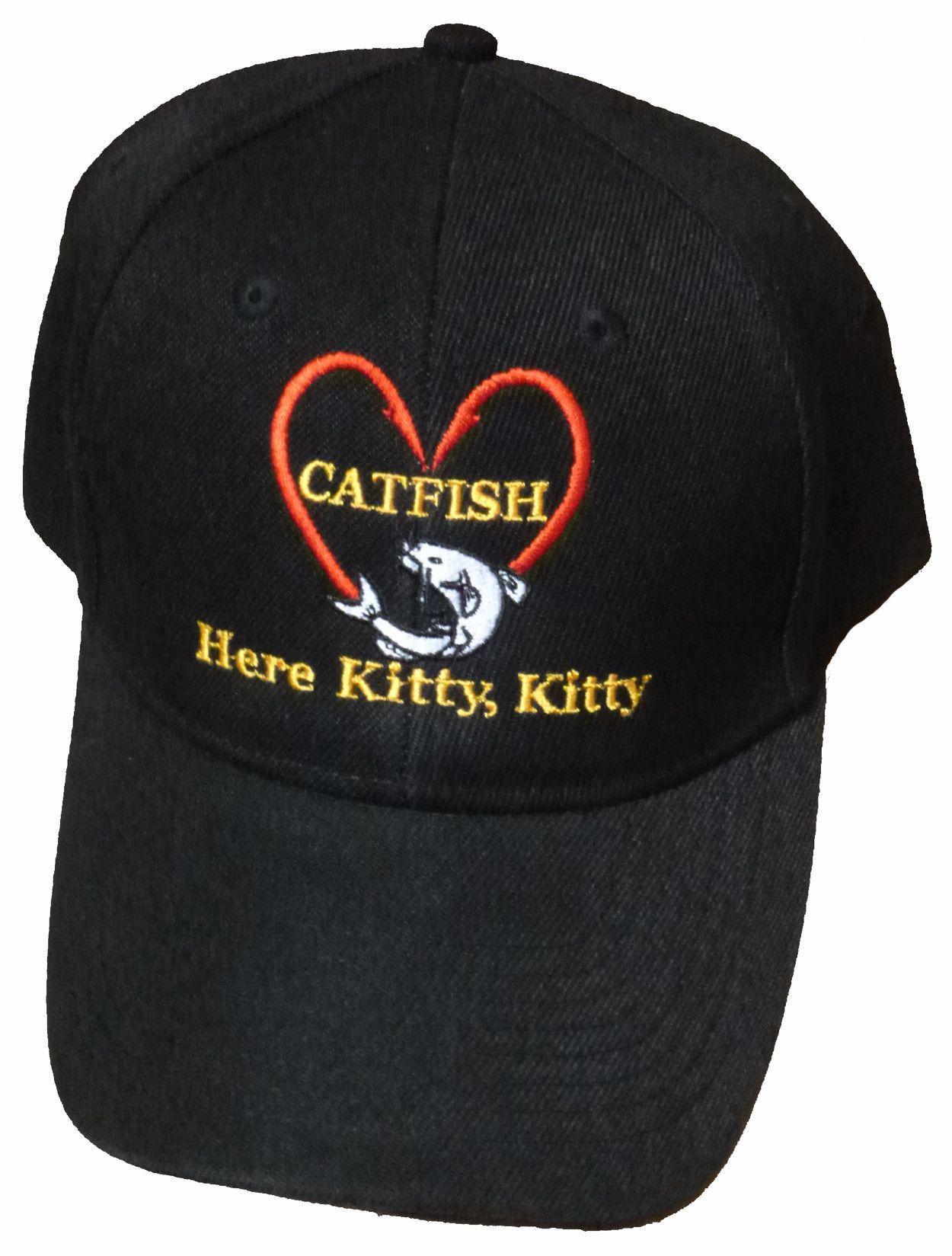 6d5e20ef86d Catfishing Baseball Cap I Love Catfish Here Kitty Kitty Black Hat Hooks in  Shape of Heart