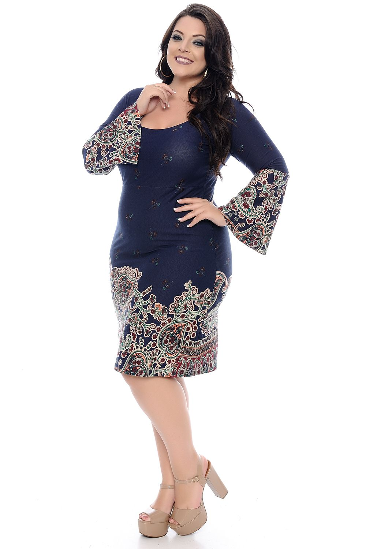 203c349678 Vestido Étnico Barrado Azul Plus Size - Chic e Elegante Vestido Étnico