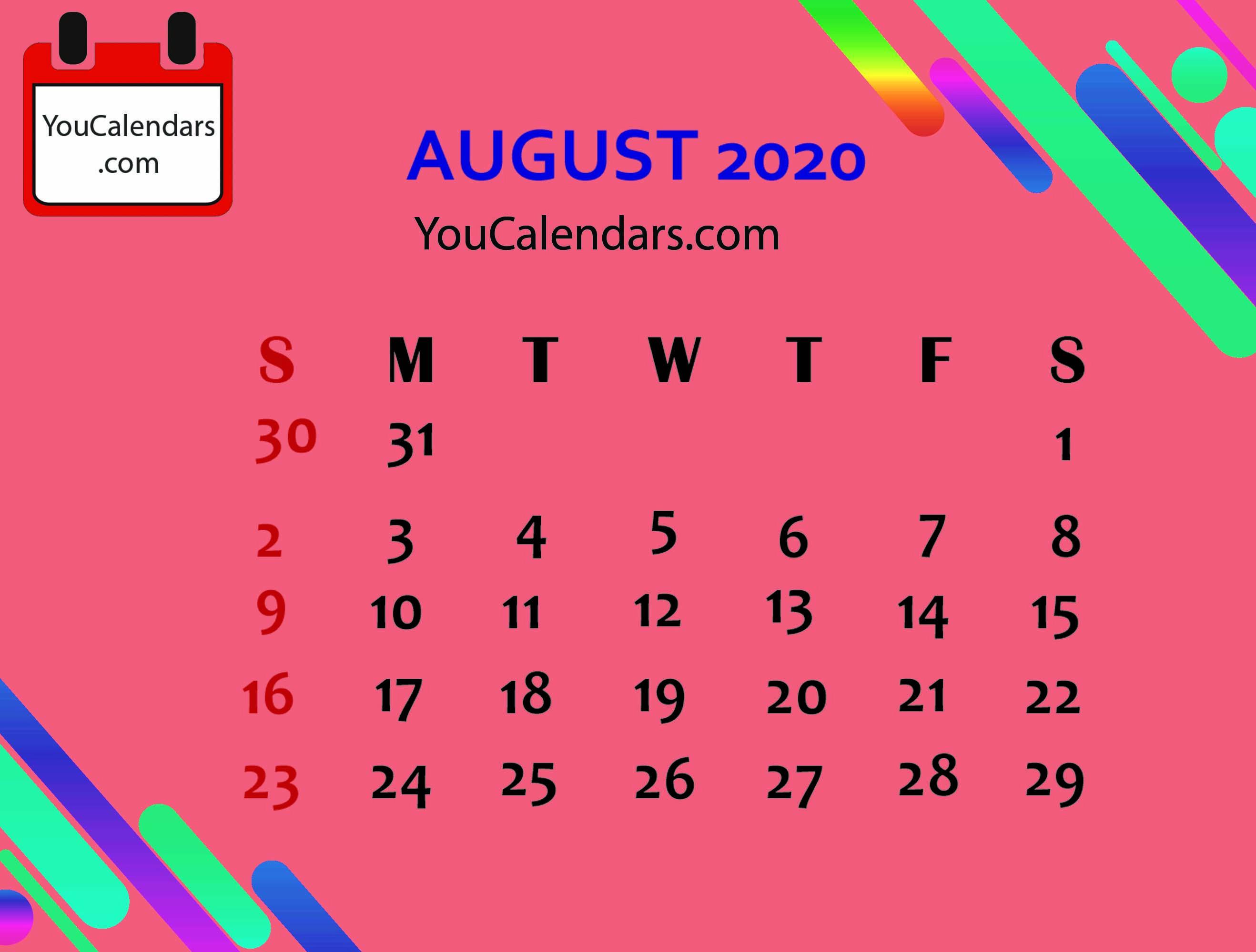 Free August 2020 Calendar Printable Template Calendar Printables