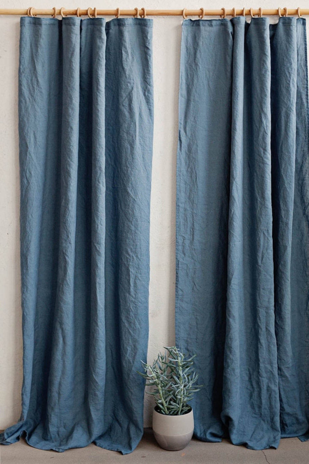 Pencil Pleat Linen Curtain Panel Washed Linen Curtains With Header Tape Custom Hook Drapes With Images Linen Curtains Panel Curtains Linen Curtain Panels