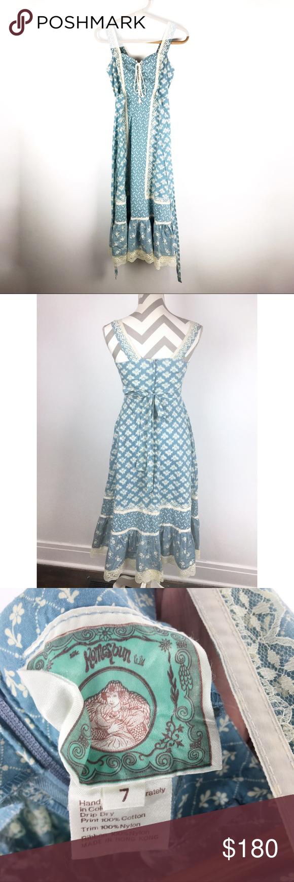 Vintage 70 S Homespun Calico Prairie Dress Xs Prairie Dress Homespun Dresses Xs [ 1740 x 580 Pixel ]