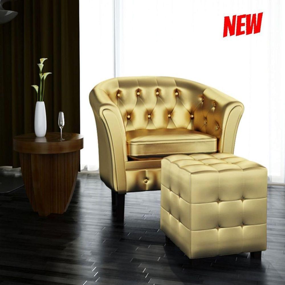 Antique Tub Chair Club Reception Armchair Footrest Set Vintage ...