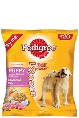 Pedigree Puppy Dog Food With Chicken And Milk 100 Grams Trial Pack
