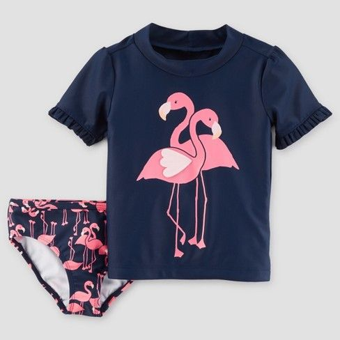 7f57d60d16d0c Toddler Girls' Flamingo Rash Guard Set - Just One You™ Made by Carter's®  Blue : Target