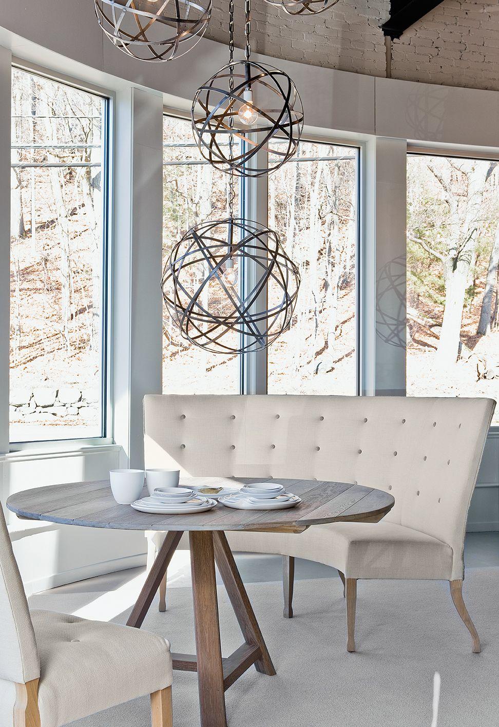 Verellen, Fermette Round Table, Caroline Banquette, Emanuelle Chairs, Iron Orbs, Chandelier, Montes Doggett Tableware,