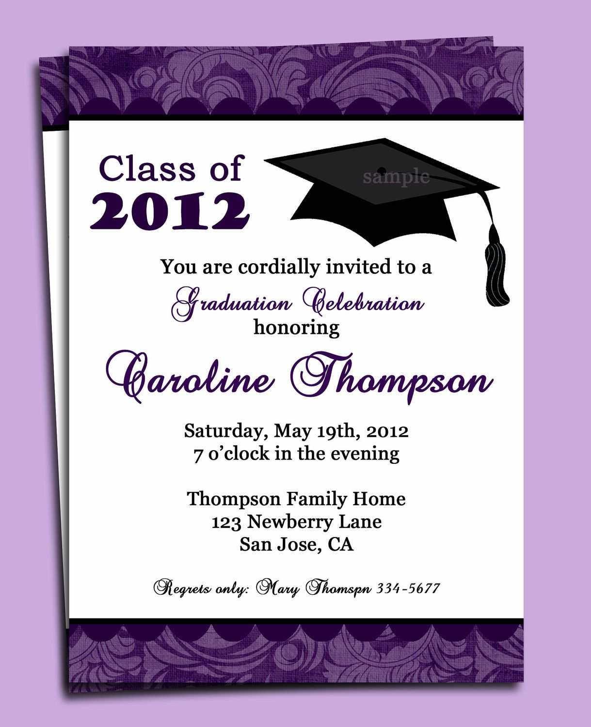 graduation party or announcement invitation printable or printed, invitation samples