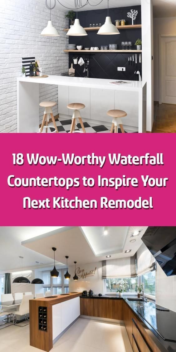 18 Wow-Worthy Waterfall Countertops to Inspire Your Next Kitchen Remodel - The kitchen is the heart of the home, and the kitchen island is the heart of the kitchen. It's no surprise, then, that so many of us are looking for a way to make a splash with our islands. Yes, we want them to have key benefits like additional cabinetry and seating, but we also want them to leave a lasting impression. You can use bright colors or trending materials to make your island pop, but those might go out... #wa #waterfallcountertop