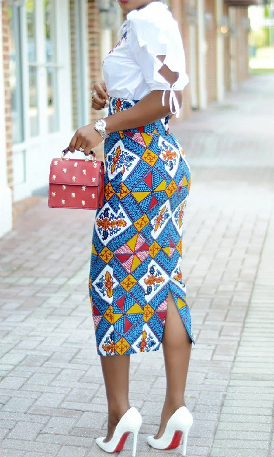 7a0db492b2 Ermonn Women African Print Knee Length Skirt Slim Fit Midi Pencil Skirt at Amazon  Women's Clothing store: