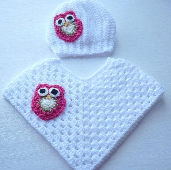 Baby Poncho and Hat Set for that little girl. by Aalexi on Etsy,