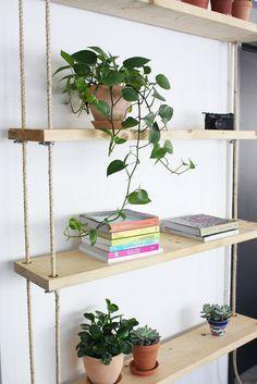 diy hanging rope shelves diy pinterest estanterias de madera rh pinterest es