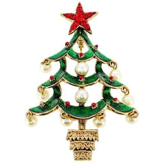 Multicolor Christmas Tree Crystal Lapel Pin | Overstock.com ...