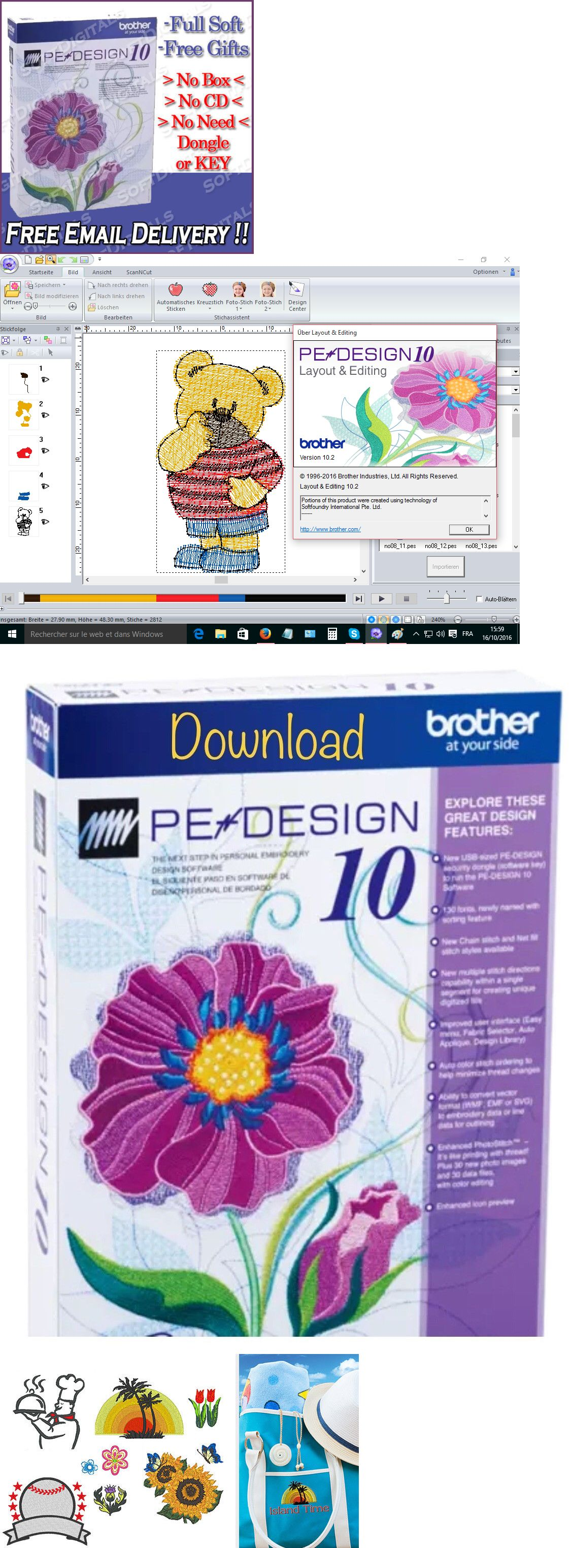 Digitizing Software 71197 Brother Pe Design 10 Full Embroidery Free Software And Gifts Immediate Delivery Buy I Brother Pe Design Embroidery Pe Embroidery