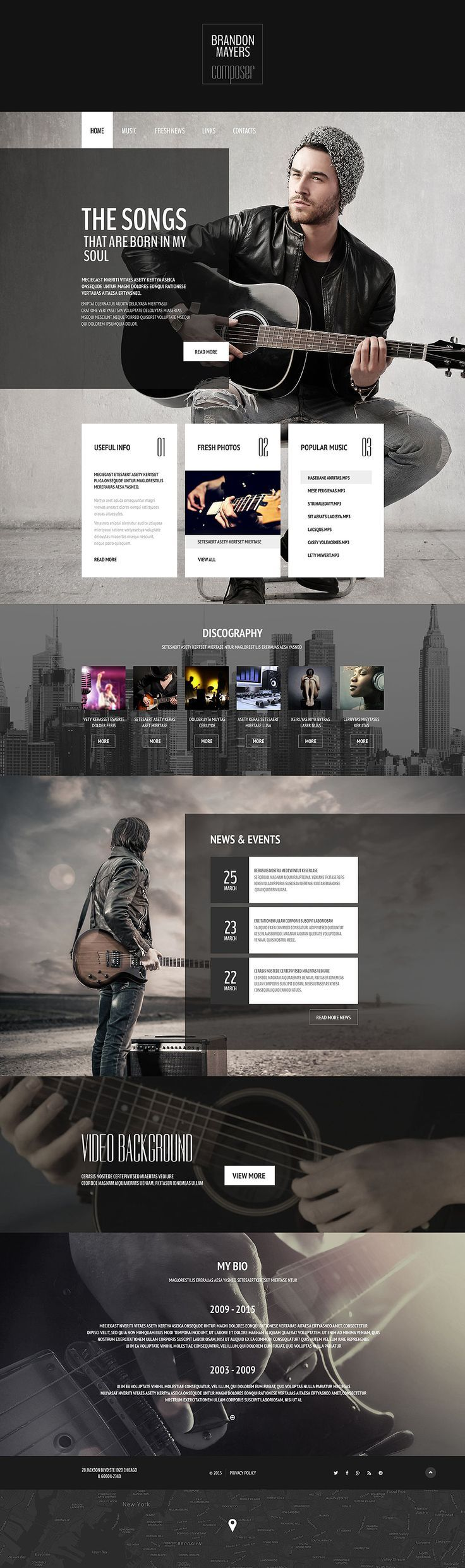 Composers portfolio website template abovecouch