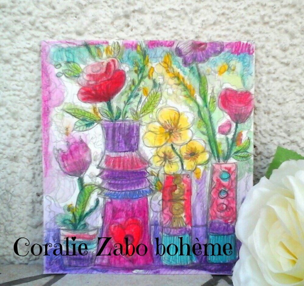 Carte Fete Des Meres Bouquet De Fleurs Aquarelle Peinture Carte