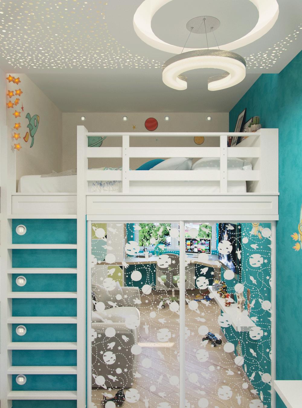 Детская для мальчика, кровать-чердак со шкафом-купе на ...