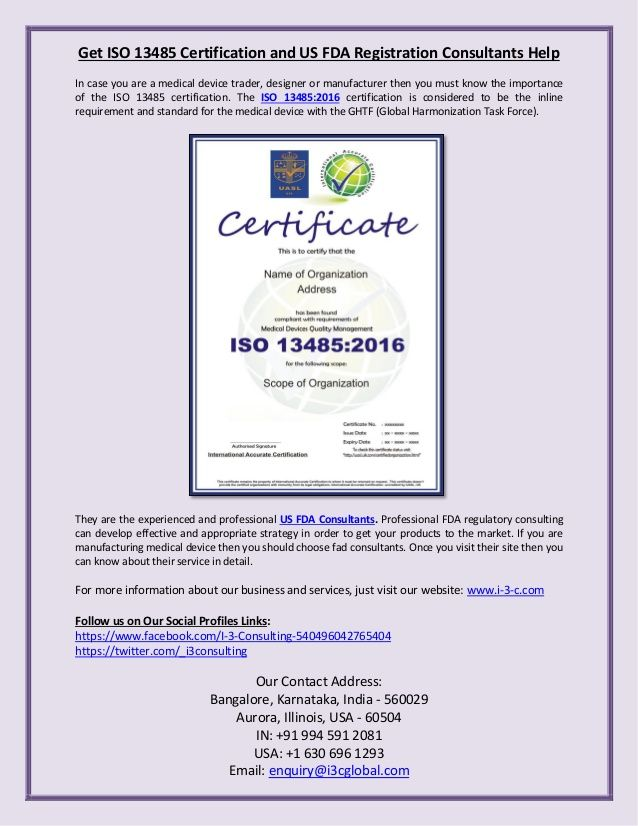 Get #ISO13485Certification and #USFDARegistration Consultants Help ...