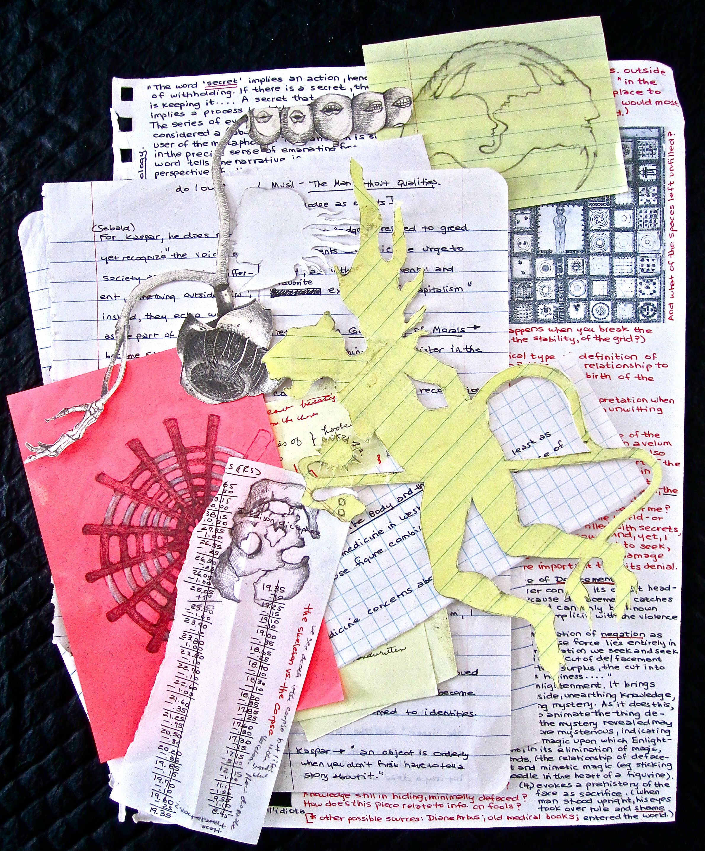 Laura Stanziola, Scraps of drawings and words, waiting for a journal page.