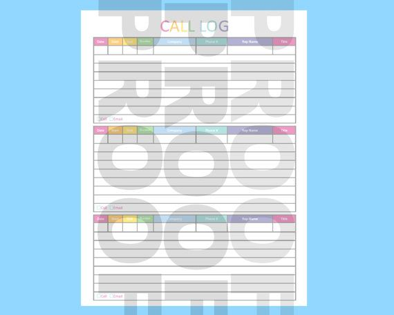 Print on standard size printer paper 85 x 11 I can customize this - call log template