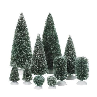 Department 56 Accessories For Department 56 Village Collections Bag O Frosted Topiaries Tree Bottle Brush Christmas Trees Topiary Trees Christmas Village