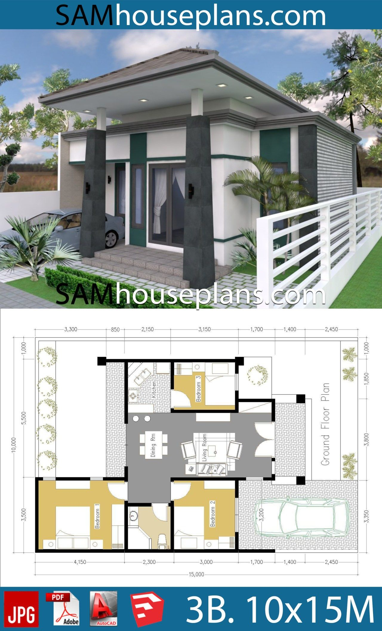 House Plans 10x15 With 3 Bedrooms Sam House Plans In 2020 My House Plans Model House Plan Small House Design Plans