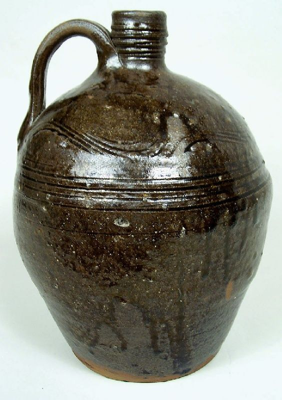 North Carolina Jug Alkaline Glazed Stoneware With Incised