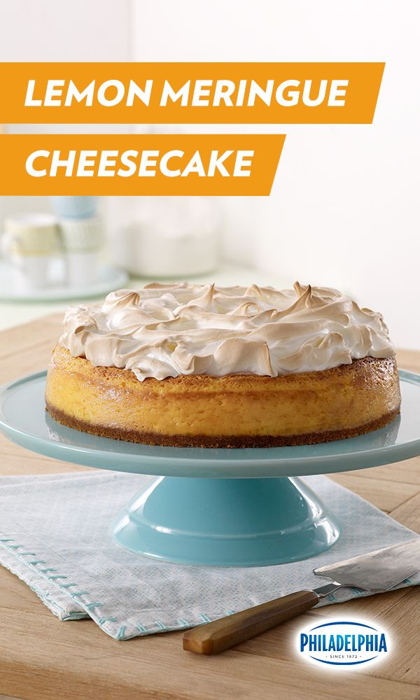This delicious Lemon Meringue Cheesecake combines two of our favorite things: tart lemons and creamy Philadelphia Cream Cheese. Now you just need to combine a fork with your mouth. #lemonmeringuecheesecake