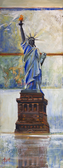 """""""The Lady Statue Of Liberty"""" Limited edition canvas print by Lucette &Judith Dalozzo http://ecanvasprints.com.au/product/new-york-city/lady-statue-liberty/"""