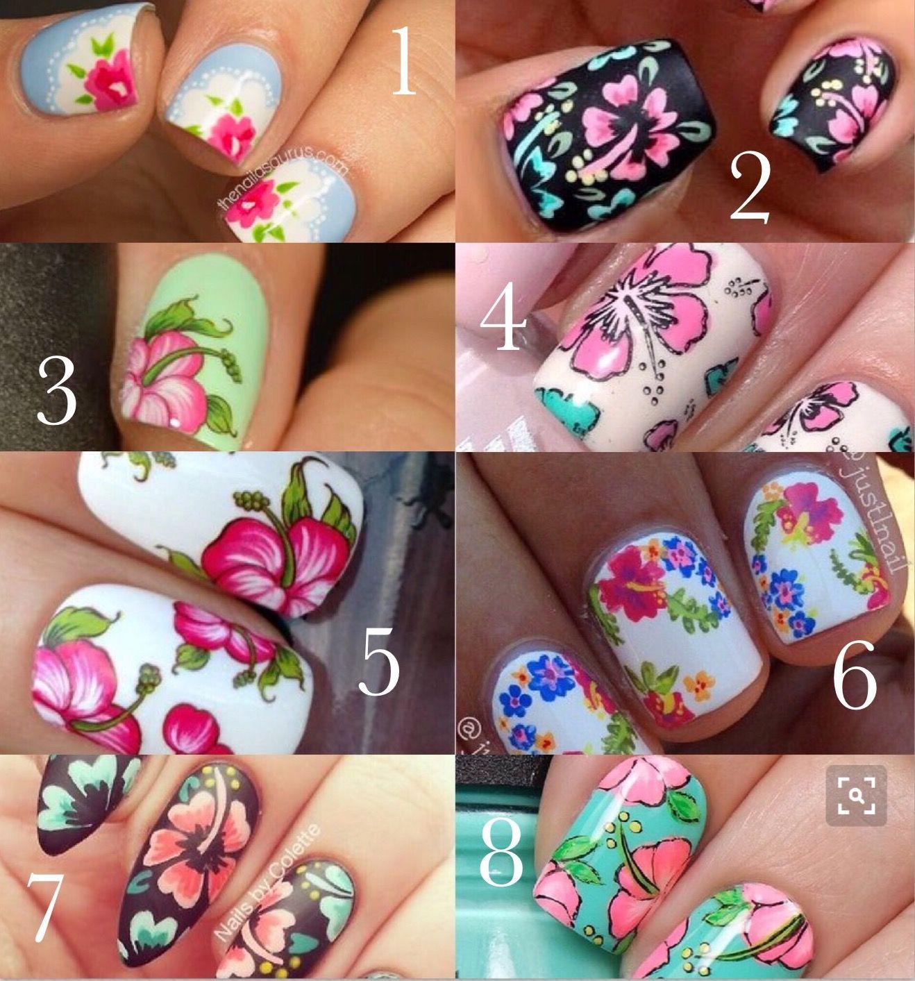 Hibiscus Nail Designs Hawaii Beach Floral Art Kauai Pinterest