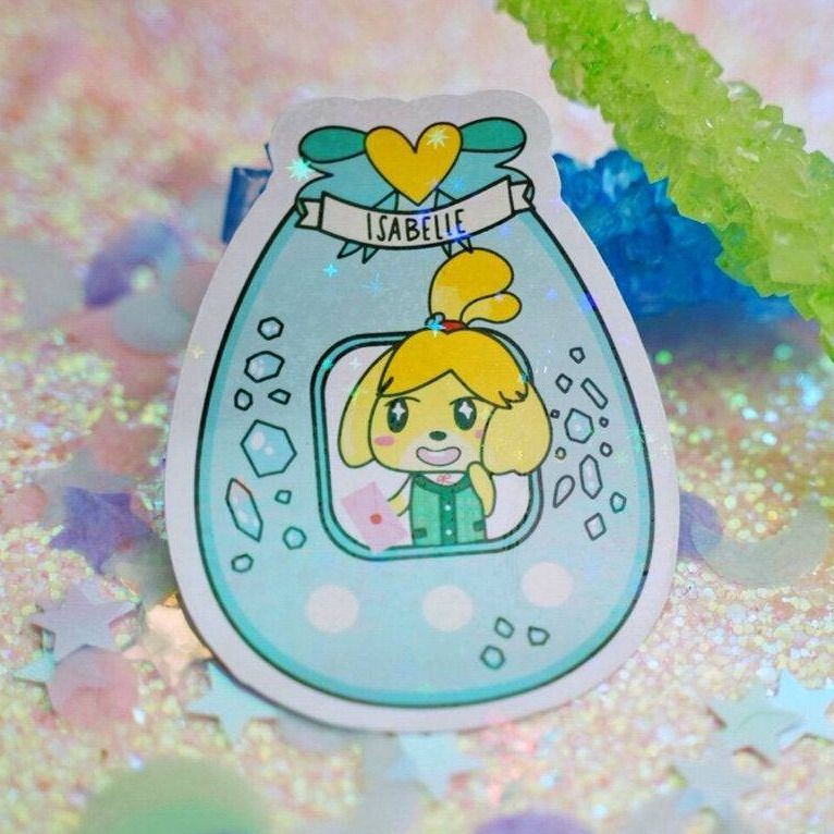 Holographic Animal Crossing Tamagotchi Stickers made by Nadine Bian -