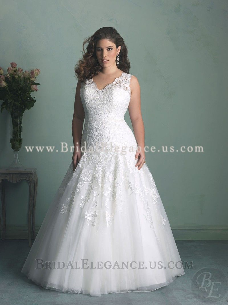 National Bridal Sale Plus Size Lace Wedding Gown With Drop Waist