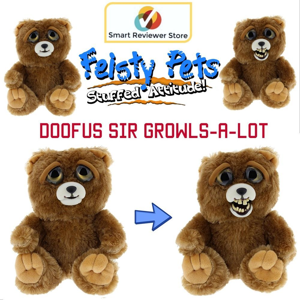 Feisty Pets Cute To Doofus Stuffed Animal Plush Squeeze Toy Growls