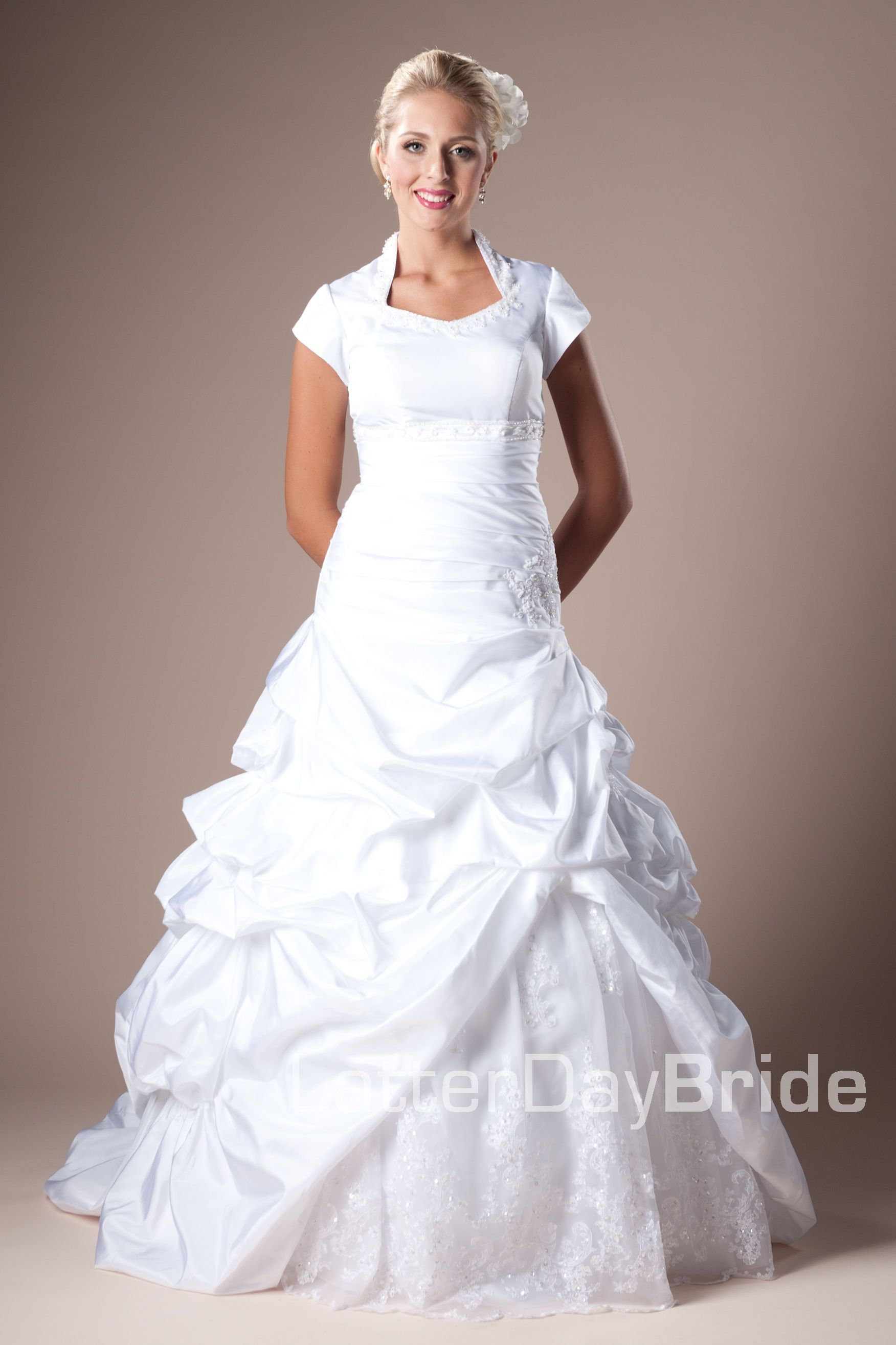 Modest Wedding Dress, Brighton | LatterDayBride & Prom. Modest Mormon LDS Temple Dress