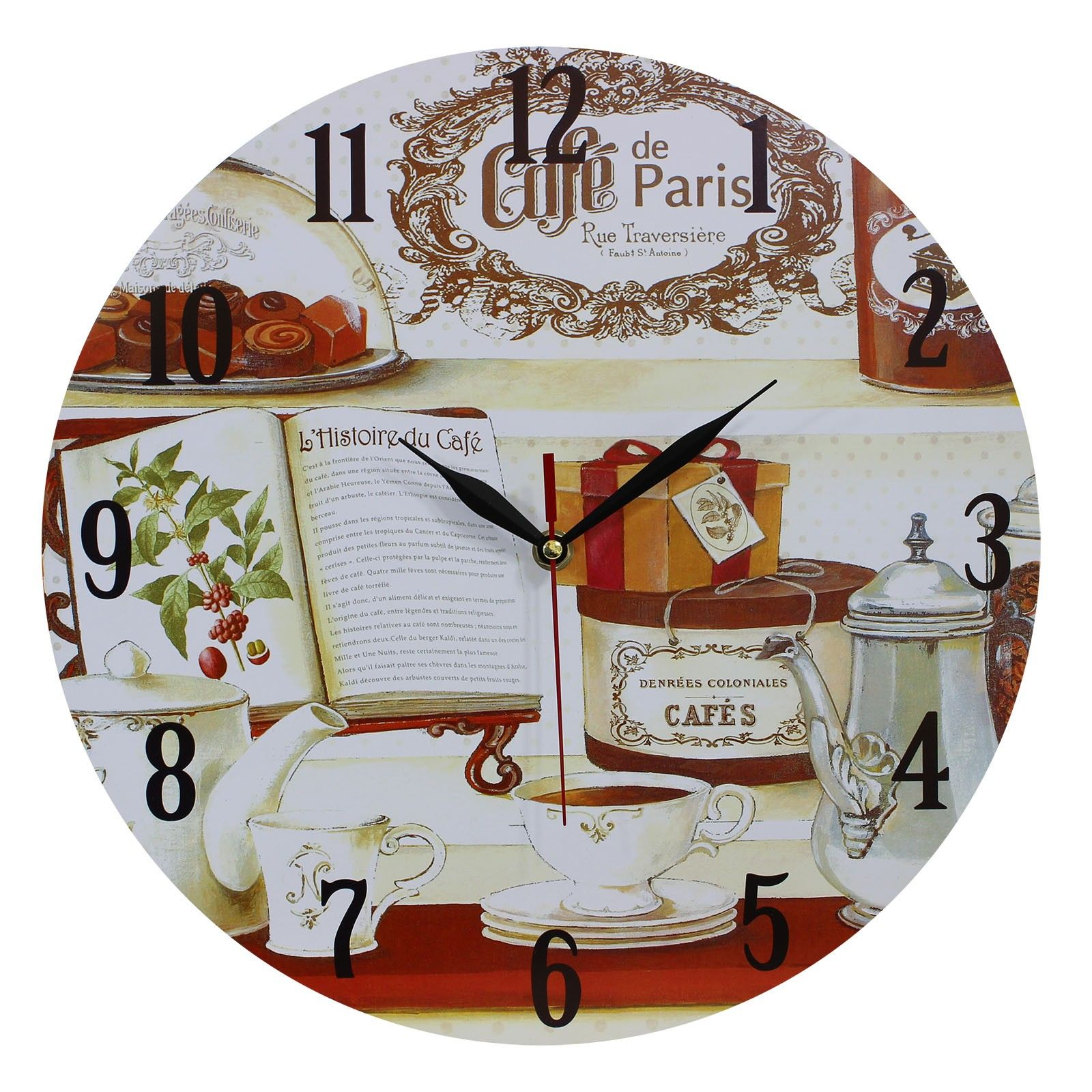 This Listing Is For One Home Decoration Vintage Style MDF Book And Café De  Paris Scene Vintage Style Wall Clock 34 Cm. Price