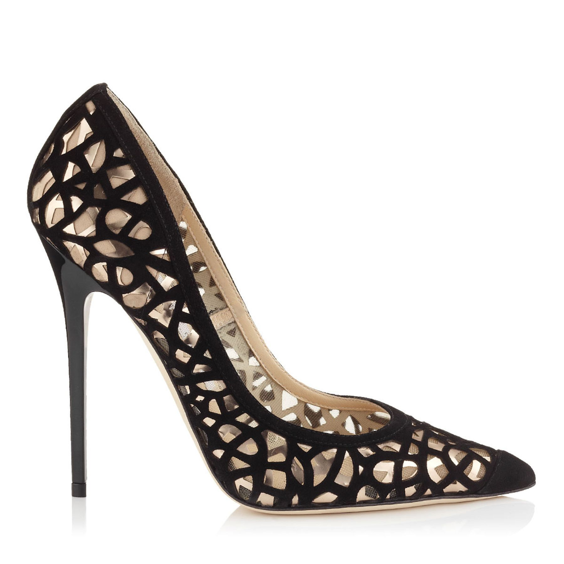 Black Laser Cut Suede and Nude Mirror Leather on Mesh Pointy Toe Pumps |  Anouk |