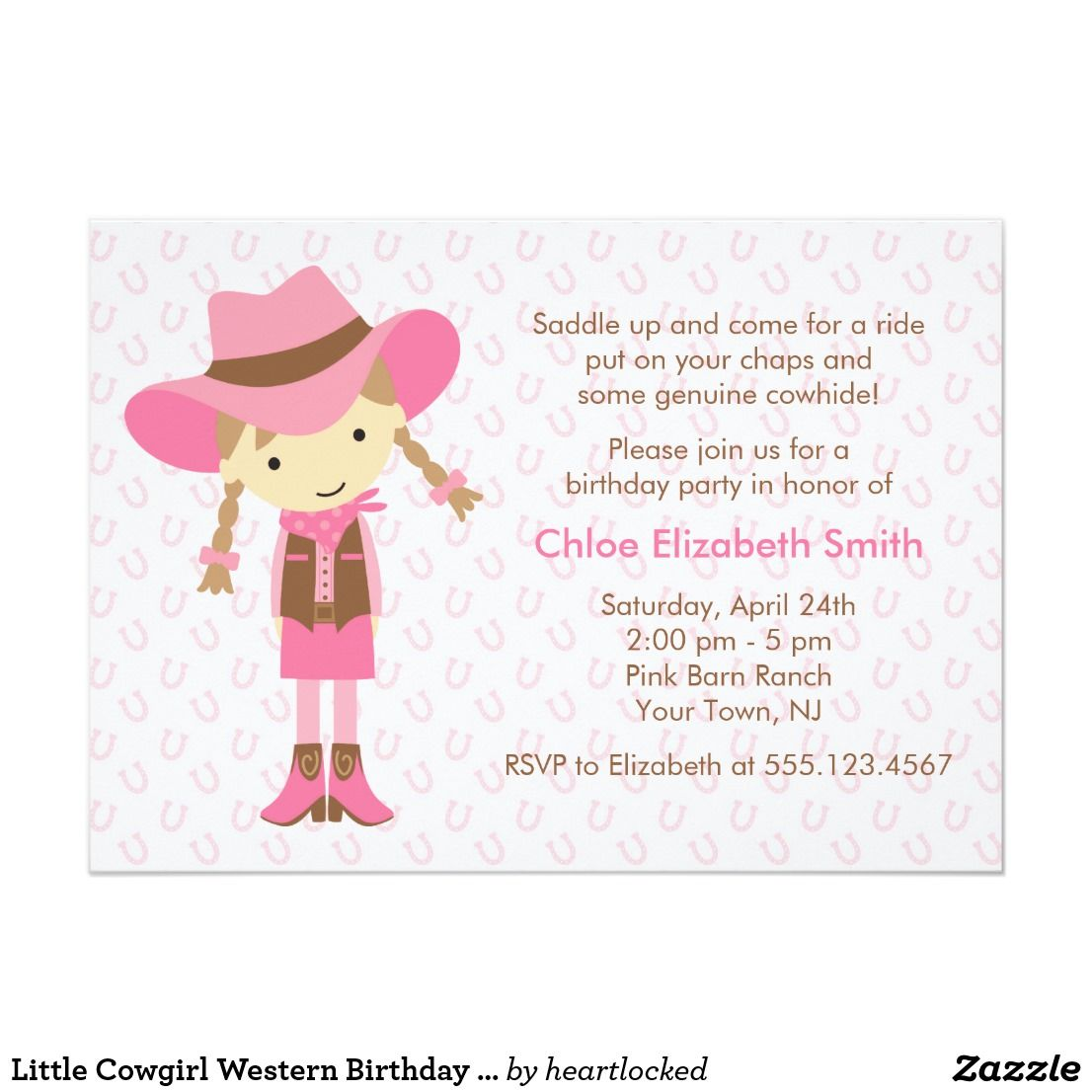 Little Cowgirl Western Birthday Party Card   Cowgirl birthday, Party ...