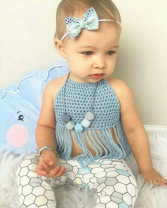 Boho Baby Fringe Halter Crop Top Baby Blue By