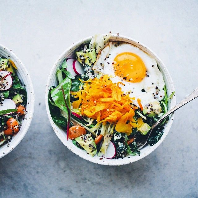 We've got a Hippie Salad Bowl with quinoa, tahini, fried egg and sauerkraut up on the blog.