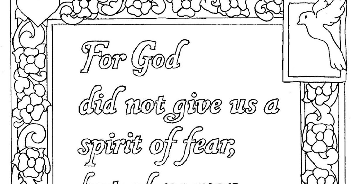 2 Timothy 1 7 Coloring Page God Did Not Give Us A Spirit Of Fear